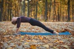Представление планки Purvottanasana красивого asana йоги практик молодой женщины верхнее на деревянную палубу в парке осени Стоковое Изображение