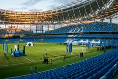 Представление поля на заново построенном стадионе динамомашины в Moscowe стоковая фотография