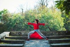 Представление ратника дня осени йоги практики женщины внешнее стоковое изображение