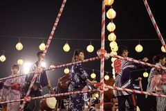 Представление танца Odori Bon стоковое фото