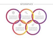 Представление Infographics дела Красочное объясняя Infographics с 5 вариантами и значками стоковые фотографии rf