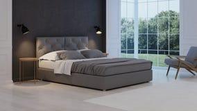 представленная молния окружающей спальни 3d нутряная классицистическое самомоднейшее Стоковые Фотографии RF