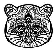 представленное изображение иллюстрации принципиальной схемы 3d Monochrome чертеж чернил Линия дизайн искусства Головной енот в ка Стоковое Изображение RF