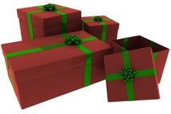 представленный красный цвет настоящих моментов зеленого цвета коробки открытый бесплатная иллюстрация