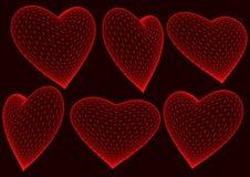 представленный красный цвет сердец 3d иллюстрация штока