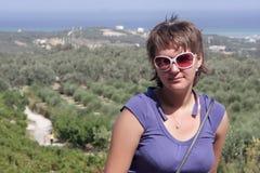 представляет женщину виноградника Стоковая Фотография