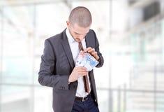 представляет счет вентилятор доллара мальчика держа 100 дег одной человека Стоковые Изображения