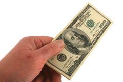 представляет счет доллар вручая 100 одних сверх Стоковая Фотография RF