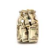 представляет счет опарник одно стекла 100 доллара Стоковая Фотография