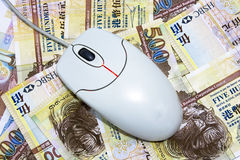 представляет счет помещенная мышь Hong Kong доллара компьютера Стоковое Изображение