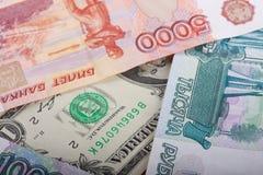 представляет счет русский тысяча рублевок доллара Стоковое Фото