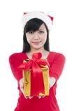 представлять девушки подарка рождества Стоковое Изображение RF