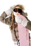 представлять женщину snowboard Стоковое Фото