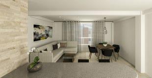 Представьте архитектуру крытый - таблица живущей комнаты стоковое фото rf