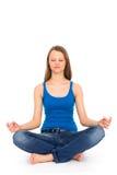 представьте йогу женщины стоковое фото rf