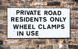 Предупредительный знак для приватной дороги Стоковое Изображение
