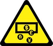 Предупредительный знак с деньгами бесплатная иллюстрация