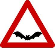 Предупредительный знак с летучей мышью Стоковое Изображение RF