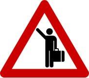 Предупредительный знак с hitch-hiking бесплатная иллюстрация