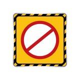 Предупредительный знак шаблона запрета значка в черноте рамки и желта бесплатная иллюстрация