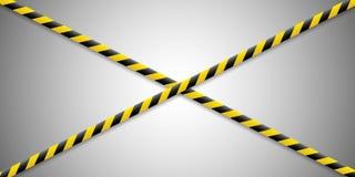 Предупреждающие линии Предостерегите его опасный к здоровью Предупреждая лента баррикады, желт-черная, на изолированной предпосыл иллюстрация штока