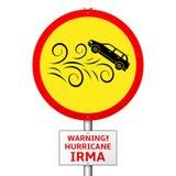 Предупреждающий ураган Ирма Опасность для того чтобы транспортировать - дорожный знак бесплатная иллюстрация