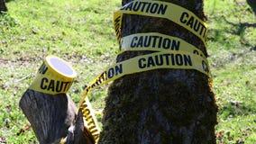 Предупреждающ для предосторежения, желтая лента, природа видеоматериал