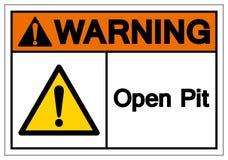 Предупреждая знак символа открытого карьера, иллюстрация вектора, изолят на белом ярлыке предпосылки EPS10 бесплатная иллюстрация
