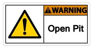 Предупреждая изолят знака символа открытого карьера на белой предпосылке, иллюстрации вектора бесплатная иллюстрация