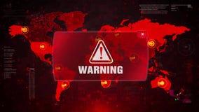 Предупреждая нападение сигнала тревоги предупреждая на карту мира экрана видеоматериал