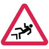 предупреждение движения знаков Опасность падать от высоты Стоковые Изображения