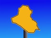 предупреждение знака карты Ирака Стоковые Изображения RF