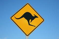 предупреждение знака кенгуруа Стоковые Изображения