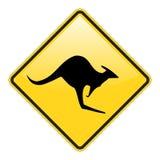 предупреждение знака кенгуруа Стоковые Фото