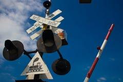 Предупреждение знака поезда с светом Стоковое Изображение RF