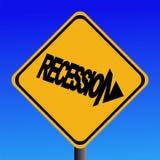 предупреждение знака рецессии иллюстрация штока