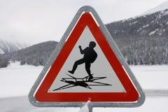 предупреждение знака столба Стоковое Изображение RF