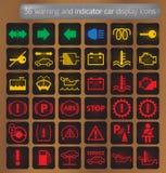 предупреждение индикатора икон дисплея автомобиля установленное бесплатная иллюстрация
