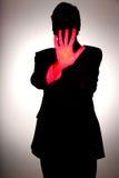 предупреждение красного цвета персоны руки стоковые фото