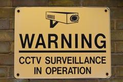 предупреждение наблюдения знака cctv стоковое изображение rf