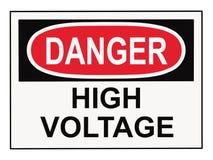 предупреждение напряжения тока высокого знака опасности Стоковое фото RF