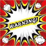 Предупреждение предпосылки комика! искусство шипучки карточки знака Стоковое Изображение RF