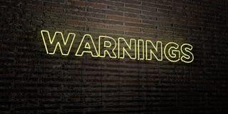 ПРЕДУПРЕЖДЕНИЯ - реалистическая неоновая вывеска на предпосылке кирпичной стены - представленное 3D изображение неизрасходованног иллюстрация штока