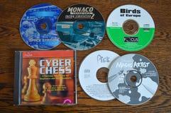 Предыдущие игры и программы программного обеспечения КОМПАКТ-ДИСКА Случайное собрание Стоковое Изображение RF