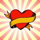 Прежнее сердце татуировки с лентой Стоковое Фото