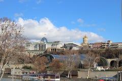 Президентская администрация Georgia и культурный центр в Тбилиси в зиме Стоковые Фотографии RF