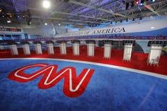 ПРЕЗИДЕНТСКАЯ БИБЛИОТЕКА РЕЙГАНА, SIMI VALLEY, ЛА, CA - 16-ое сентября 2015, дискуссия CNN президентская отличает предпосылкой b  Стоковая Фотография RF