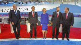 ПРЕЗИДЕНТСКАЯ БИБЛИОТЕКА РЕЙГАНА, SIMI VALLEY, ЛА, CA - 16-ое сентября 2015, предпосылка Air Force One отличает (l к r) Jeb Bush, Стоковые Фото
