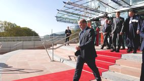 Президент Выход Emmanuel Macron французский от Европейского суда по правам человека видеоматериал