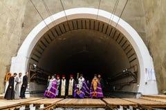 Президент Poroshenko раскрывает новый железнодорожный тоннель в Карпатах Стоковые Фотографии RF